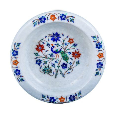 Peacock Marble Inlay Fruit Bowl
